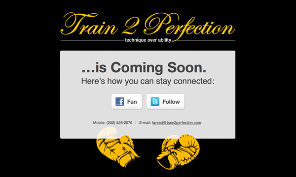 Train 2 Perfection Coming Soon Page